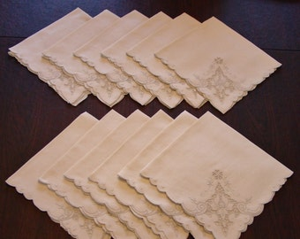 """12 Beautiful Vintage Linen Napkins with Cut Work Embroidery, 20  1/2"""", Cream Color, Perfect"""