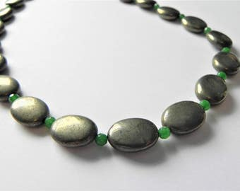 "Pyrite and green quartzite gemstone necklace, 19"" in length"