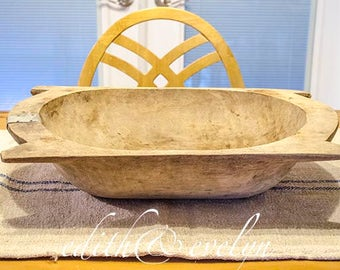 Antique European Dough Bowl Trencher, Carved Wood, Authentic, 1800s