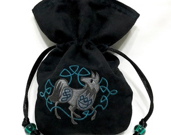 CELTIC WOLF - Mini Embroidered Drawstring Dice Bag, Rune Pouch made of faux suede - LARP Costume Accessory