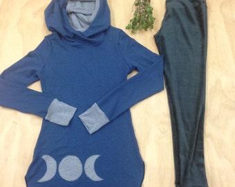 Moon Phase Hoodie in Hemp, Organic Cotton and Bamboo