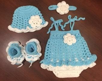 Crochet Ruffly Baby Girl Onesie Dress Set, 0 - 3 months, Hat, Headband, Romper, Booties, Ready to Ship, Free US Shipping