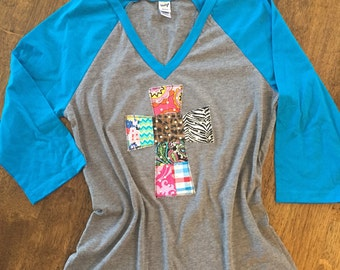 V-neck Baseball Tee with Patchwork Bling Cross by Two Girls Who Make Crosses