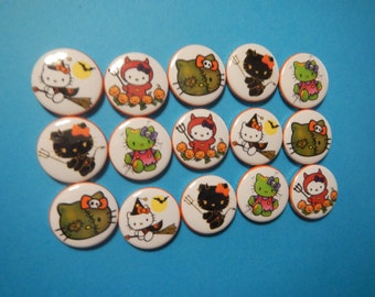15 Zombie Witch Hello Kitty Inspired Character Pinback Button Shower Goody Gift Treat  Party Favors Brooches