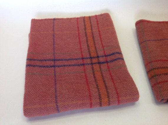 Red Salmon Plaid,  Hand Dyed Wool Fabric, Fat 1/4 yard, Rug Hooking & Appliqué Wool,  W288, Washed brick red, Sandstone Red