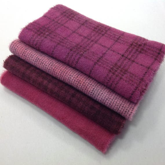 4) Fat 1/16ths, Raspberry Roses, Hand dyed wool fabric for Rug Hooking and Applique, , W323, LAST ONE!