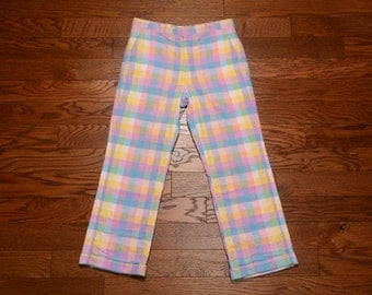 vintage madras pants rainbow pastel plaid 80s trousers straight leg cuff golf pant check checkered Stockton Atlanta prep trad 32x27