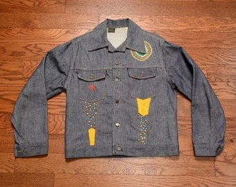 vintage embroidered denim jacket 70s vintage jean jacket Funk & Flash Sears Roebuck 1970 hippie denim jacket L large 42