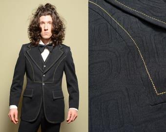 mens vintage suit 70s texture black three 3 piece disco pimp suit rockabilly flare pant bellbottom pant 38 38R 1070 funky menswear