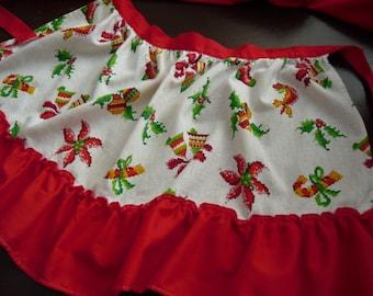 Vintage Christmas Half Apron Vintage Linens