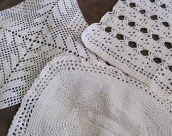 Lot of 3 Vintage Handmade Crocheted Doily Table Runner Place Mat Chair Scarf (#14B)