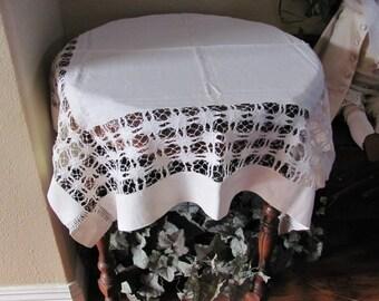 "Table Linens Vintage Solid White Drawnwork Soft Fine Cotton  Tablecloth - 36"" Square (#142)"