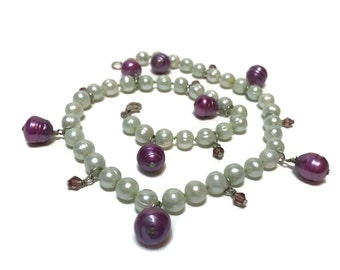 "16"" mint celadon green cultured pearl necklace 7mm purple baroque pearls and pink swarovski crystals, sterling silver findings 14.8 grams"