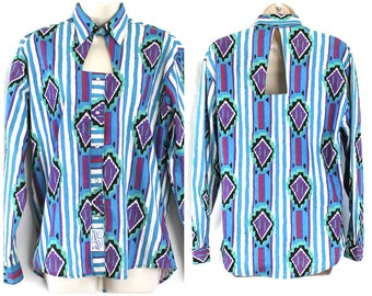 Vintage Rockmount Ranch Wear / Shirt Sz Sm / Relaxed Fit Western Pearl Snaps Long Sleeved Keyhole Neckline Rodeo Aztec Design Shirt Womens