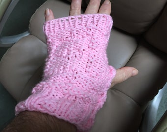 hand knitted pink fingerless mitts