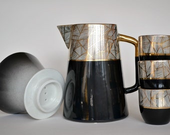 Geometric porcelain pour-over coffee maker - black and gold - ceramic coffee pitcher and strainer - Jasmin Blanc Studio