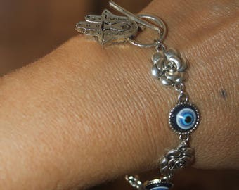 evil eye bracelet, Hamsa bracelet, adjustable bracelet, evil eye bracelet, silver hamsa bracelet