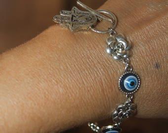 evil eye bracelet, Hamsa bracelet, adjustable bracelet, evil eye bracelet, silver hamsa bracelet
