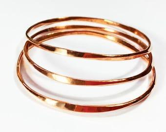 Copper Bangles - Modern Hammered Faceted design - Handcrafted Bangle Bracelets