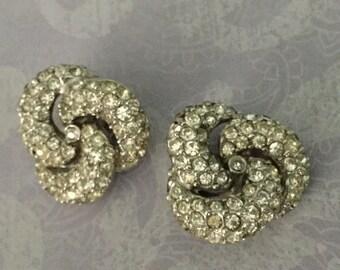 Vintage signed LEDO Clear Rhinestone Clip Earrings