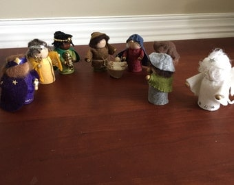 Peg doll nativity scene, complete set, felt decor, waldorf style, Christmas decor