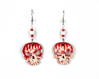 Bloody Red and White Sinister wood Skulls Earrings