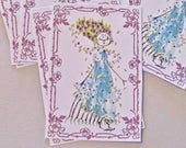 Party Wedding Thank You Tags Whimsical Lot of 9