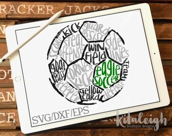Messy Eagles Soccer INSTANT DOWNLOAD in dxf, svg, eps for use with programs such as Silhouette Studio and Cricut Design Space