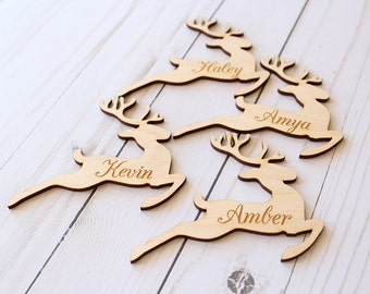 Reindeer Placecards Wood Place Cards Christmas Table Setting Reindeer Name Cards Reindeer Shape Christmas Decor Farmhouse Christmas