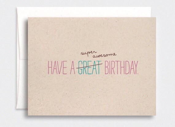 Funny Birthday Card for Her - Cute Typography Card, Super Awesome Birthday - Brown Recycled Card - For Her