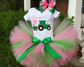 Pink and green tractor themed tutu listing INCLUDES TUTU ONLY  Great for Birthdays, Photography Prop, and Dance