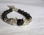 BLACK LAVA ROCK Rhinestone Silver Metal Tassel Silver Mixed Bead Stretch Bracelet