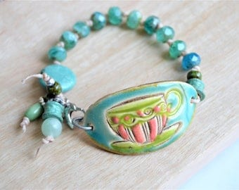 CZECH GLASS Beaded Coffee Cup Ceramic Focal Bracelet with Bead Charms