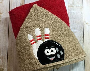 "Bowling Hooded Bath Towel 27"" x 52"""