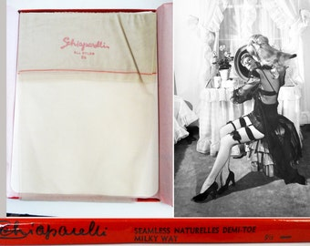 Vintage Stockings//Schiaparelli//Nylons//Hosiery//Original Box// Designer//3 Pair//Pinup//Size 9 & 1/2//Milky Way//Designer//Original Box