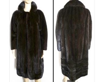 Mink Coat//Full Length Mink Coat//Dark Mahogany// Designer Mink Coat//