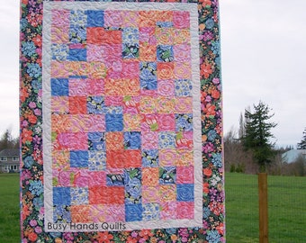 Ready to Ship, Floral Lap Quilt, Patchwork Quilt, Pink, Orange, Handmade, Quilts For Sale, Blanket, Coverlet, Custom, Busy Hands Quilts