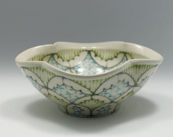 Small Wheel Thrown Handmade Ceramic Bowl with Green, Kiwi and Turquoise Pattern