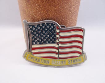 Operation Desert Storm Belt Buckle. Military. Armed Forces. Free US Shipping -FL