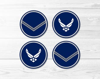 US Air Force Round Labels -- Air Force Farewell, Air Force Welcome Home, Deployment, USAF, Cupcake Toppers, Printable, Instant Download