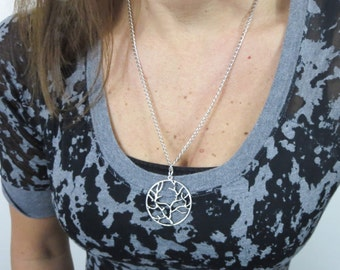 tree of life pendant necklace. chain link antiqued silver necklace with tree of life charm. boho jewelry. choose chain length.