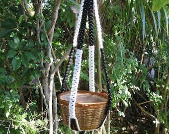 White Black 36 1/2 Inch No Beads Macrame Plant Hanger