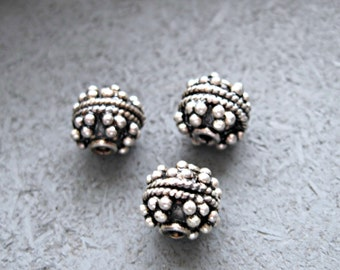 Set of Three (3) Bali Sterling silver beads
