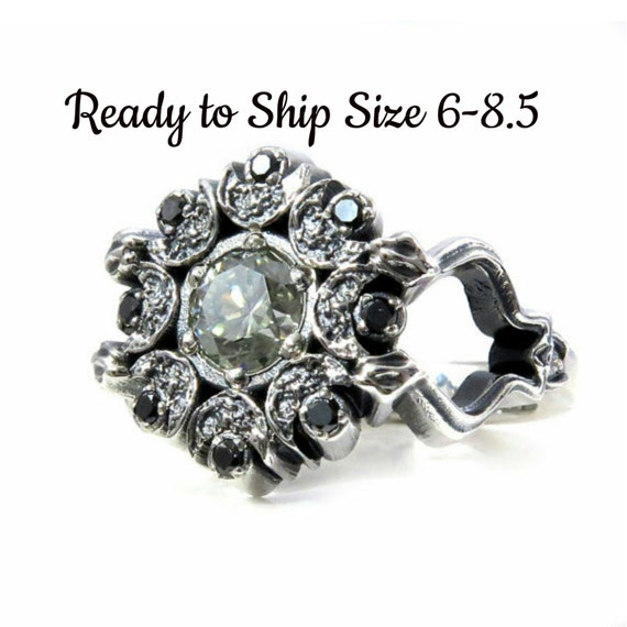 Light Green Moissanite Snake and Crescent Moon Womens Cocktail Ring with Black and White Diamonds - Ready to Ship Size 6-8
