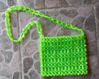 vintage Made in Hong Kong, lemon-lime color clear  beaded handbag