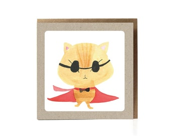 Funny Cat Greeting Card, Super Cat, Cat Card, Cat Cards, cat lover card, cute card, funny cat card, cat birthday card, cat lover funny card