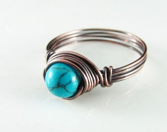 Wire Wrapped Ring Turquoise Ring Copper Ring Wire Wrapped Jewelry Copper Jewelry Turquoise Jewelry