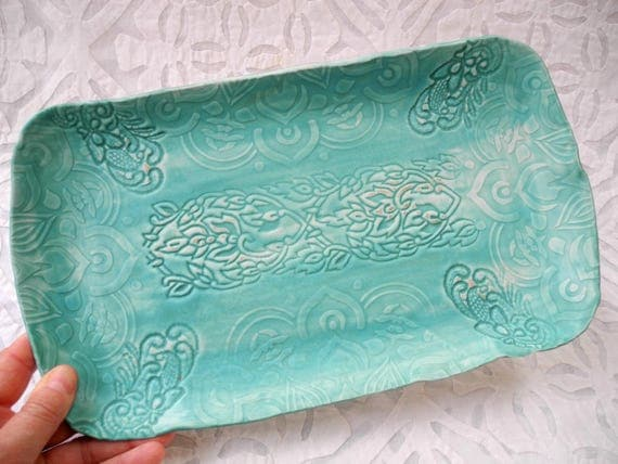 Rectangle Tray, Loaf cake tray, Turquoise textured platter, Lace Pottery, Vanity Tray, Easter Decor, ceramic tray, pottery platter, Spring