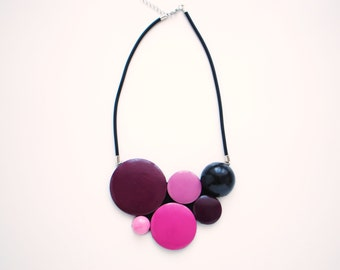 Black Fuchsia Pink Beet Red Wooden Necklace