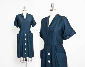 Vintage 1950s Dress - Midnight Blue Fitted Day Dress Button Front 50s - Large L